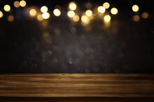 Empty Table And Gold Glitter Lights Background