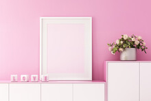 3d Rendering Of Mock Up Interior Design For Living Room With Picture Frame On Pink Wall,valentine's Day Background