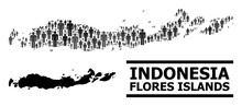 Map Of Indonesia - Flores Islands For Demographics Proclamations. Vector Demographics Abstraction. Concept Map Of Indonesia - Flores Islands Created Of Man Pictograms.