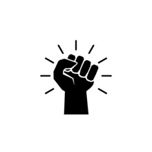 Protest Strong Fist Raised Fight Icon Isolated On White Background