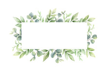 Watercolor Vector Wreath Of Green Branches And Leaves.