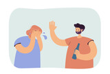 Drunk man abusing woman. Bearded male character with bottle screaming at crying wife or girlfriend. Alcohol problems or family abuse concept for banner, website design or landing page