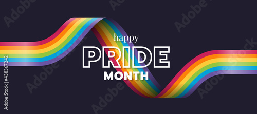 Happy Pride month text and rainbow pride ribbon roll wave on dark background vector design