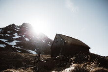 Bright Sun Over Mountain And Hut
