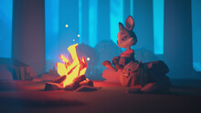 Adventurer Cartoon Rabbit With Backpack In T-shirt And Pants Sits On A Log Near A Burning Bonfire In A Forest Night Scene. 3d Illustration Of Little Brave Traveler Resting And Looking At Glowing Fire.