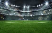 Textured Soccer Game Field With Neon Fog - Center, Midfield, 3D Illustration