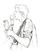Singing Man Watercolor Illustration On White Background