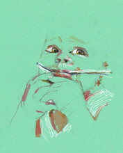 Babe Watercolor Illustration On Green Background
