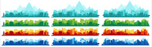 Collection Of City Landscapes On A Light Background. City Landscape In Different Colors.