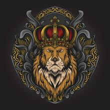 Artwork Illustration And T Shirt Design Lion King Engraving Ornament