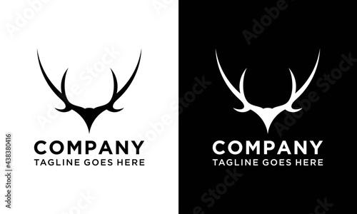 Fotografie, Obraz black deer antlers logo vector illustration icon.