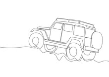 Single Line Drawing Of Tough 4x4 Speed Jeep Wrangler Car. Adventure Offroad Rally Vehicle Transportation Concept. One Continuous Line Draw Design