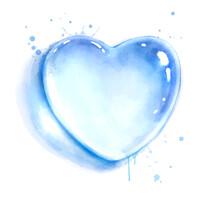 Watercolor Illustration Of Heart Shape Water Drop