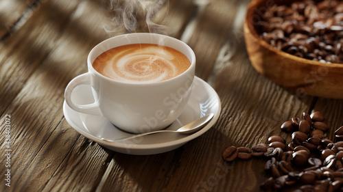 Платно Frische Tasse Kaffee mit Kaffeebohnen auf Tisch