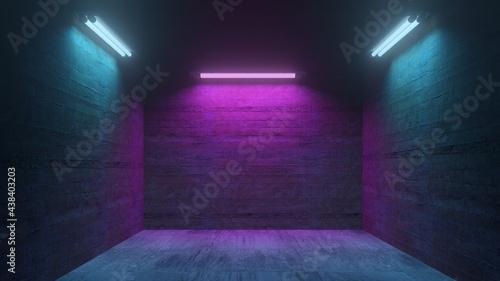 Dunkle Garage oder Club mit Beton und Neonlicht nachts