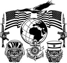 Military Bulldog And Crossing Rifles