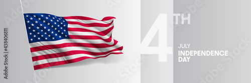 Fotografiet USA happy independence day greeting card, banner vector illustration
