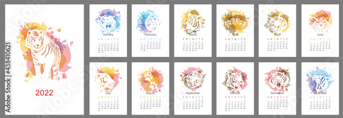 Fototapeta Wall calendar design template for 2022, the year of the tiger in the chinese or oriental calendar