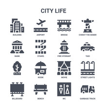 Icon Set Of 16 City Life Concept Vector Filled Icons Such As Airport, Bank, Taxi, Movie, Bench, Garbage Truck, Wc, Fire Hydrant, Christ The Eemer
