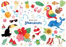 水彩 夏のトロピカルイラスト
