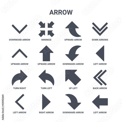 Slika na platnu icon set of 16 arrow concept vector filled icons such as minimize, upward arrow,