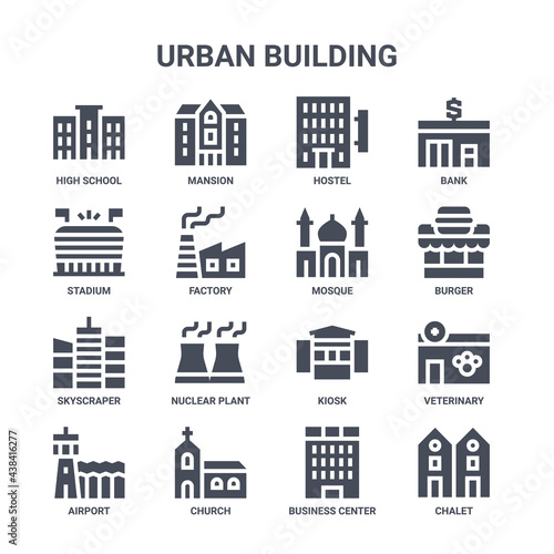 Stampa su Tela icon set of 16 urban building concept vector filled icons such as mansion, stadi