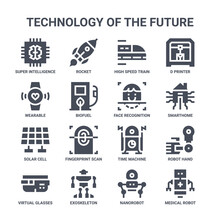 Icon Set Of 16 Technology Of The Future Concept Vector Filled Icons Such As Rocket, Wearable, Smarthome, Time Machine, Exoskeleton, Medical Robot, Nanorobot, Face Recognition, D Printer