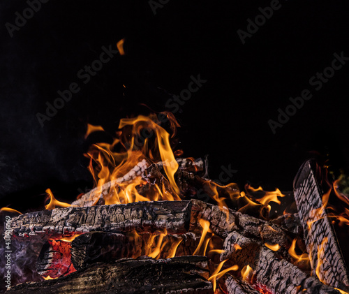 Camp fire in the night, close-up #438416669