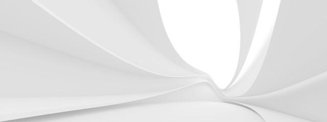 Futuristic Architecture Design. Panoramic Building Background. White Space Station Concept
