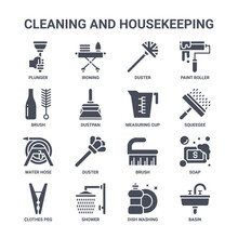 Icon Set Of 16 Cleaning And Housekeeping Concept Vector Filled Icons Such As Ironing, Brush, Squeegee, Brush, Shower, Basin, Dish Washing, Measuring Cup, Paint Roller