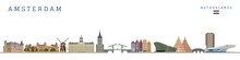 Amsterdam Monument Buildings City Skyline And Landmarks Colorful Vector Illustration.