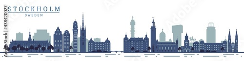 Silhouettes of stockholm city monuments, travel Fotobehang