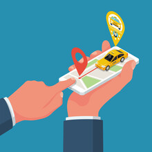 A Man With A Smartphone Call A Taxi. Mobile Phone In Hand. Car Taxi On The Screen. People Delivery Service. Vector Illustration, Isometric 3d Design. An Application For Tracking A Car.