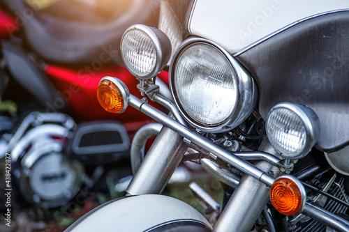 Headlight of the tourist motorcycle Fototapet