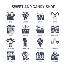 Icon Set Of 16 Sweet And Candy Shop Concept Vector Filled Icons Such As Lollies, Sweet, Candy Shop, Location, Jar, Lollipop, Shop, Basket, Xmas