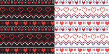 Christmas Fair Isle Seamless Vector Pattern For Background, Fabric And Others Isolated On White And Black Background.