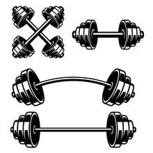 Set Of Illustrations Of Gym Barbells. Design Element For Logo, Label, Sign, Emblem, Poster. Vector Illustration