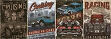 Custom Cars Vintage Posters Set