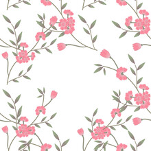 Pink Sakura Blossom Seamless Background. Japanese Flowering Cherry Exotic Texture. Spring Flowers,leaves Pattern. Concept Wedding,textiles,fabric,backdrop.