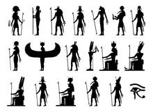 Silhouettes Of The Gods And Goddesses Of Ancient Egypt: Ra, Ptah, Anubis, Khnum, Bastet, Thoth, Khepri, Sekhmet, Isis, Set, Min, Nut, Geb, Amon, Sebek, Hator, Horus.