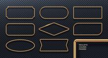 Set Realistic Golden Metal Frames 3D Golden Geometric Banners