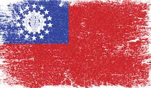 Myanmar Burma Flag With Grunge Texture