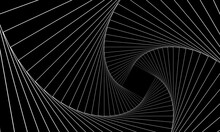 Abstract Geometric Banner. Swirling White Lines On A Black Background. Whirl Square, Wave Stripes, Rotation Movement, Neon Spiral Image. Futuristic Twist Grid Backdrop. Vector Optical Art Illustration
