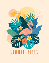 Summer Vibes Banner Template. Vector Illustration In Trendy Flat Style Of Exotic Tropical Leafs, Flowers And A Flamingo. Isolated On Background
