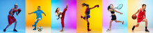 Soccer Football, Basketball, Taekwondo, Boxing And Tennis. Collage Of Different Little Sportsmen In Action
