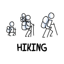Stick Figures Icon Of Family Hiking. Vacation Pictogram With Text