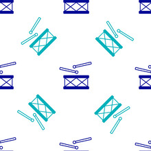 Blue Drum With Drum Sticks Icon Isolated Seamless Pattern On White Background. Music Sign. Musical Instrument Symbol. Vector