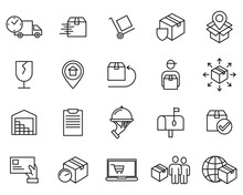 Delivery, Shipping, Logistics Set Icon Symbol Template For Graphic And Web Design Collection Logo Vector Illustration