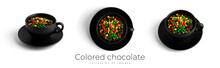 Colored Chocolate Sunflower Seeds In Black Plate Isolated On A White Background