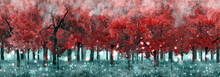Red-orange Tree And Meadows In Summer Forest Of Fantasy World 3D Illustration